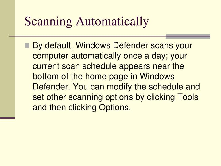 Scanning Automatically