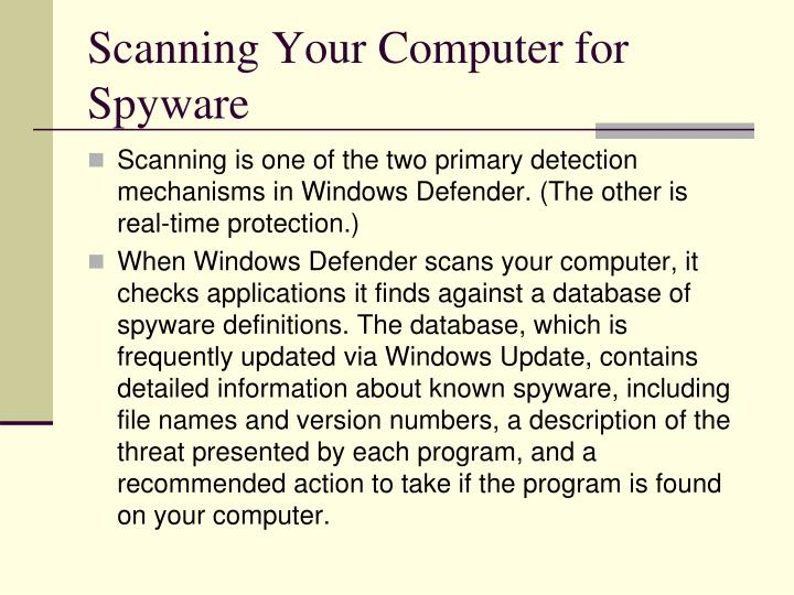 Scanning Your Computer for Spyware