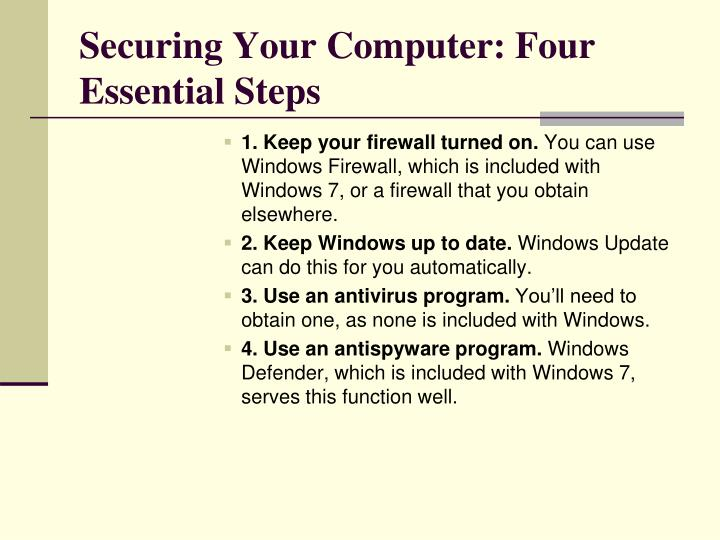 Securing Your Computer: Four Essential Steps