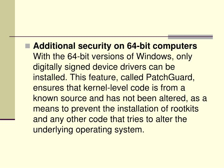 Additional security on 64-bit computers