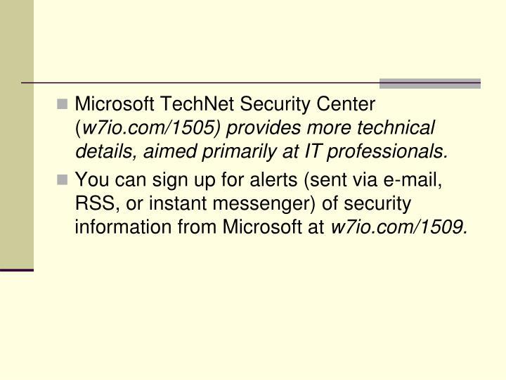 Microsoft TechNet Security Center (