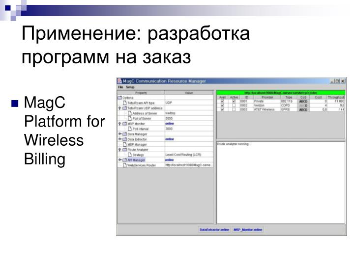 Применение: разработка программ на заказ