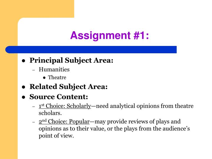 Assignment #1: