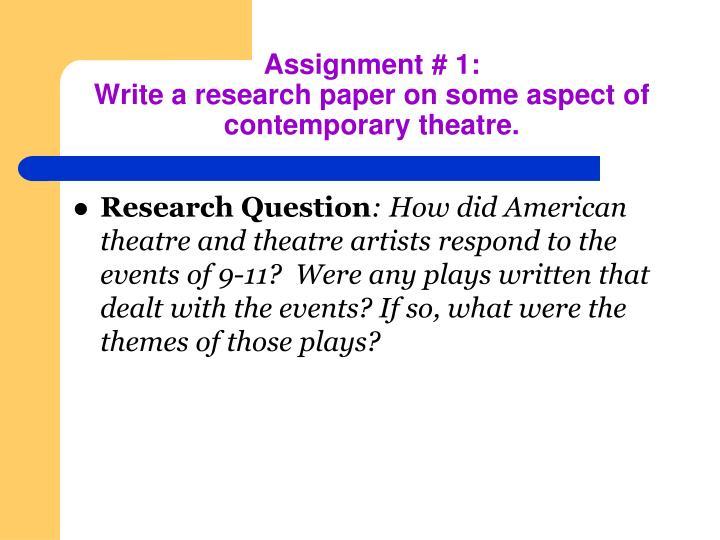 Assignment # 1: