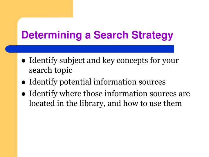 Determining a Search Strategy