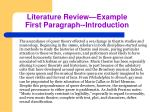 literature review example first paragraph introduction