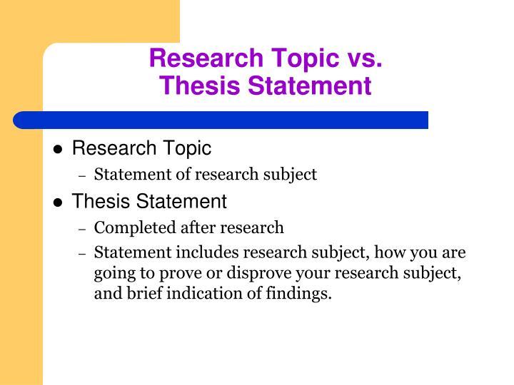 Research Topic vs.