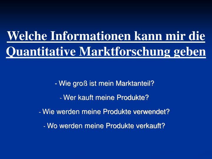 Welche Informationen kann mir die Quantitative Marktforschung geben