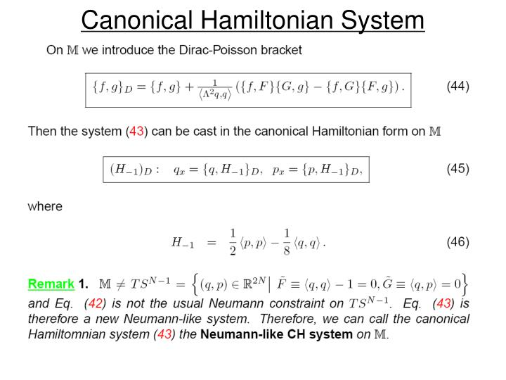 Canonical Hamiltonian System