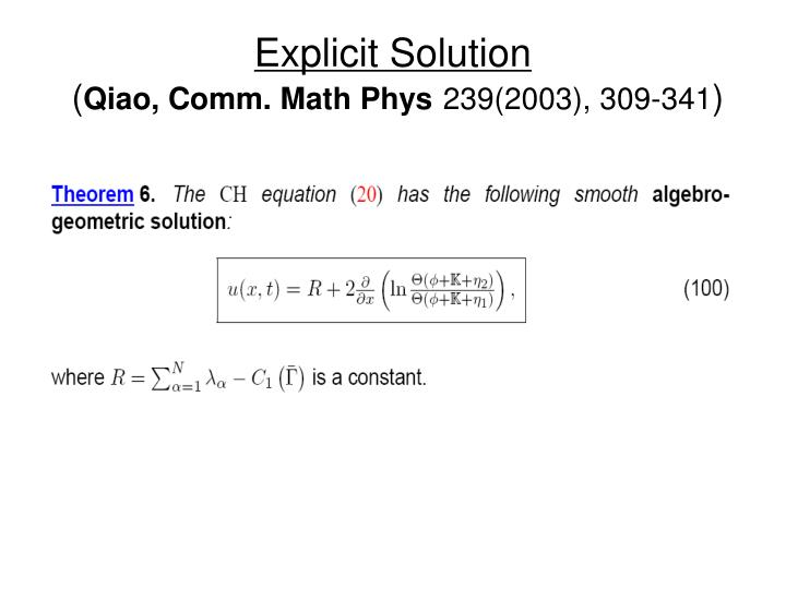Explicit Solution