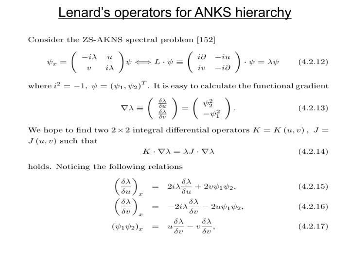 Lenard's operators for ANKS hierarchy