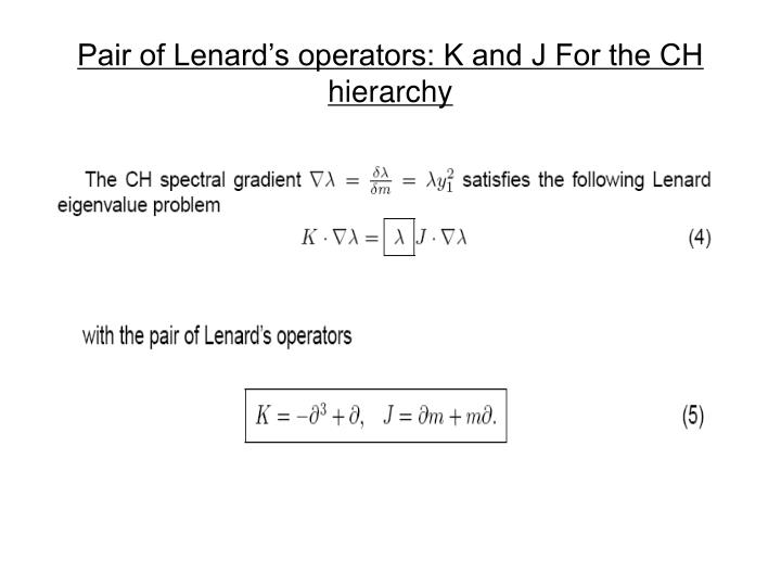 Pair of Lenard's operators: K and J For the CH hierarchy