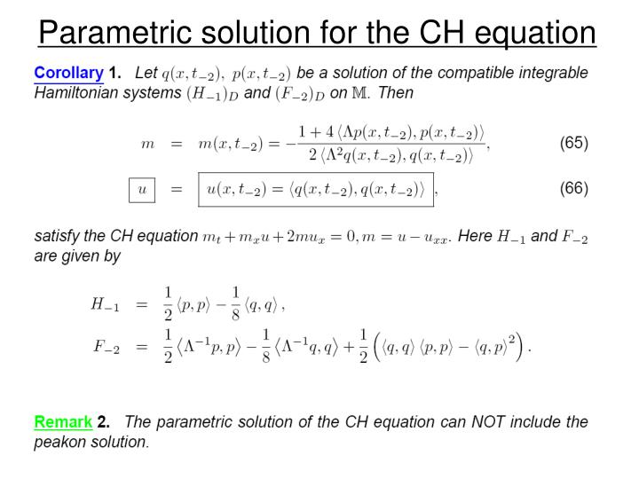 Parametric solution for the CH equation