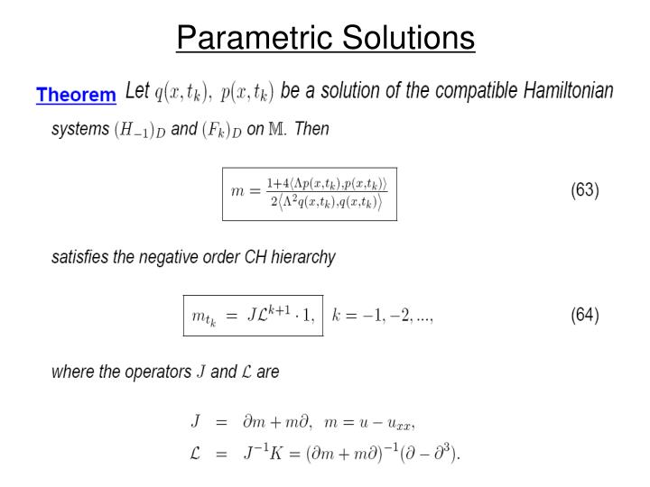 Parametric Solutions