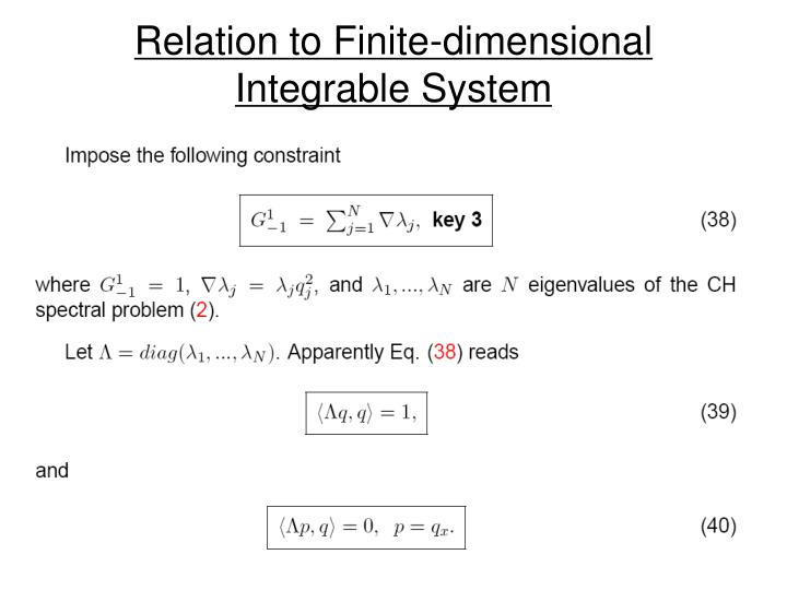 Relation to Finite-dimensional Integrable System