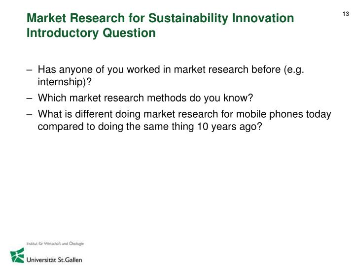 Market Research for Sustainability Innovation