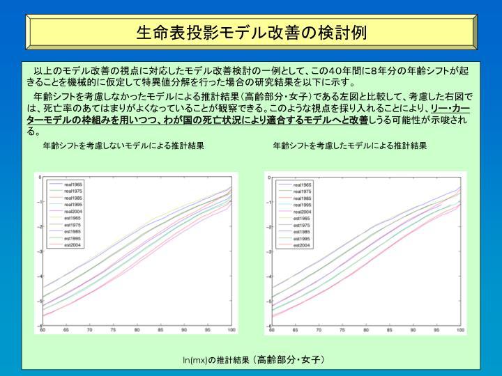 生命表投影モデル改善の検討例