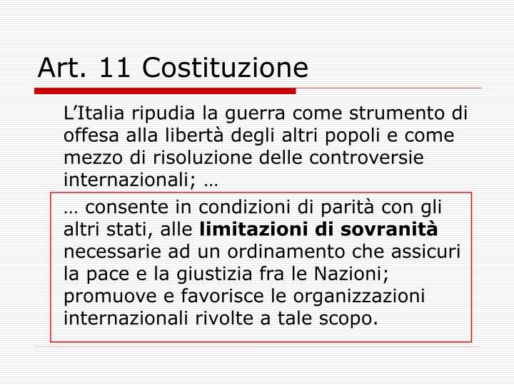 Art. 11 Costituzione