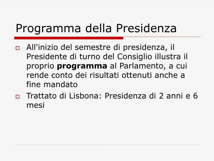 Programma della Presidenza