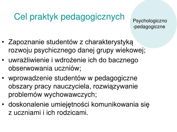 Cel praktyk pedagogicznych