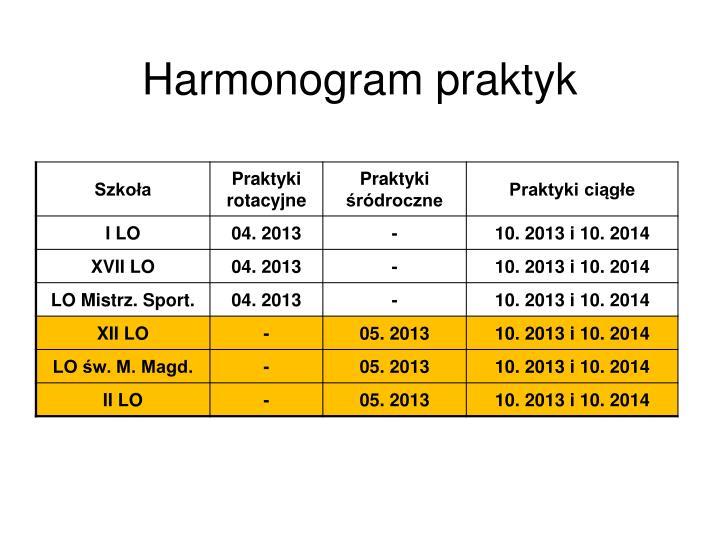 Harmonogram praktyk