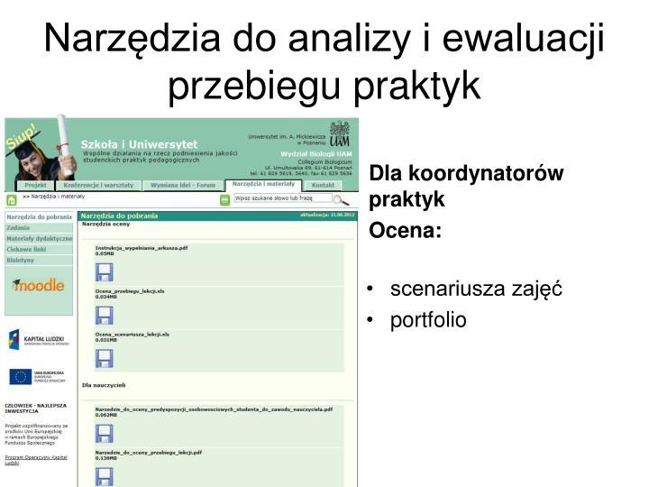Narzędzia do analizy i ewaluacji  przebiegu praktyk