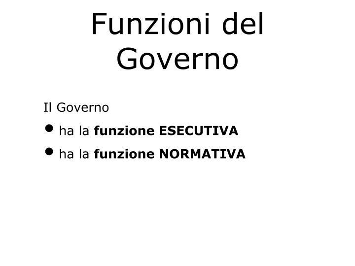 Funzioni del Governo
