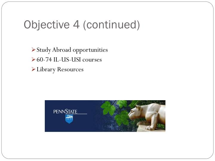 Objective 4 (continued)