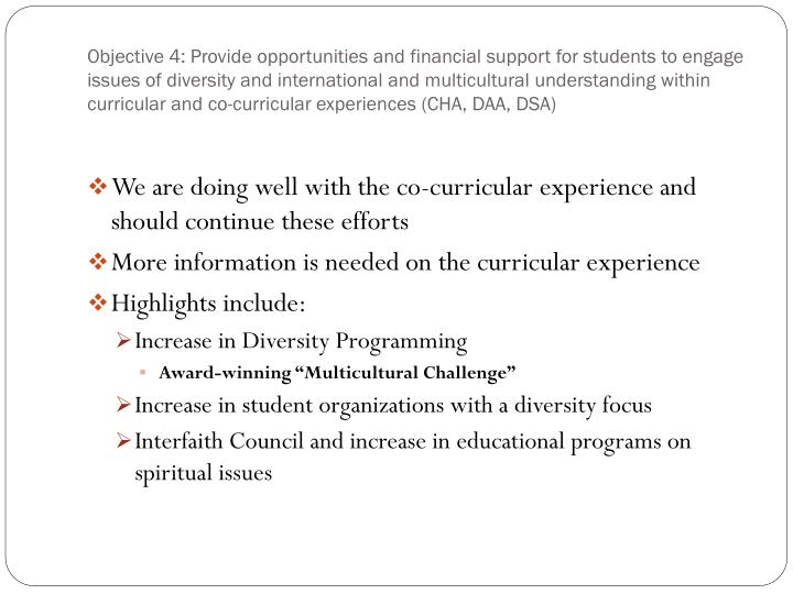 Objective 4: Provide opportunities and financial support for students to engage issues of diversity and international and multicultural understanding within curricular and co-curricular experiences (CHA, DAA, DSA)