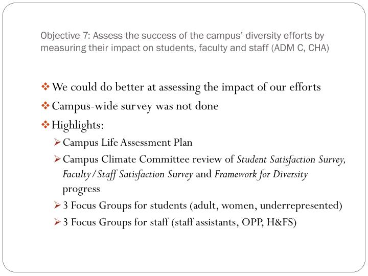 Objective 7: Assess the success of the campus' diversity efforts by measuring their impact on students, faculty and staff (ADM C, CHA)