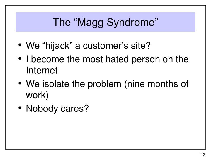 """The """"Magg Syndrome"""""""