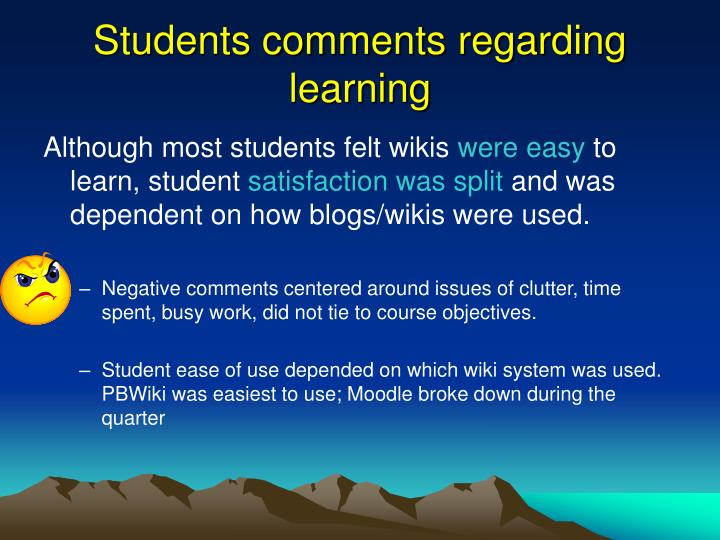 Students comments regarding learning