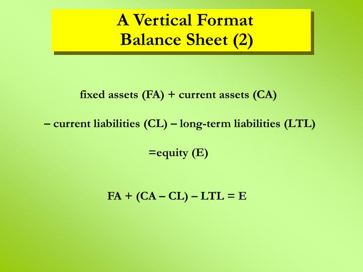 fixed assets (FA) + current assets (CA)