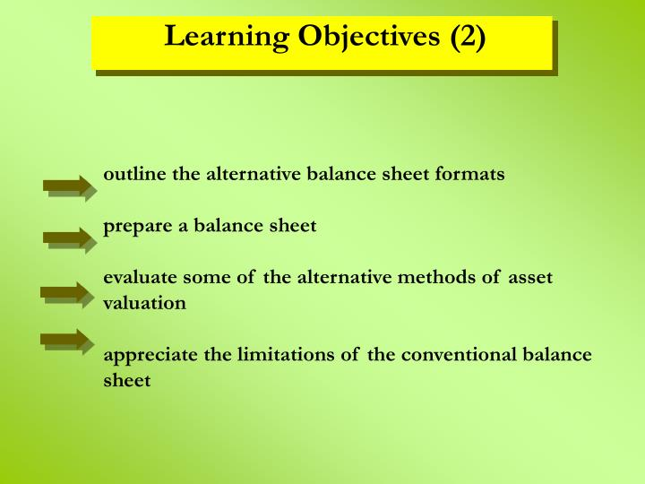 outline the alternative balance sheet formats