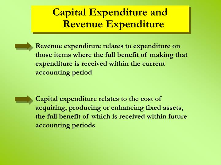 Capital Expenditure and Revenue Expenditure