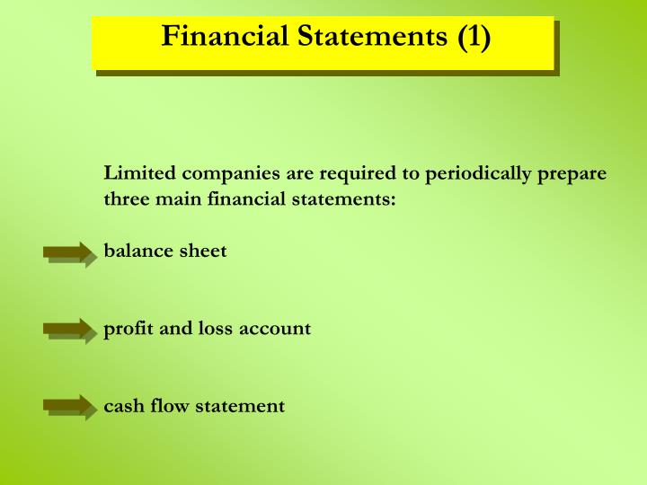 Limited companies are required to periodically prepare three main financial statements: