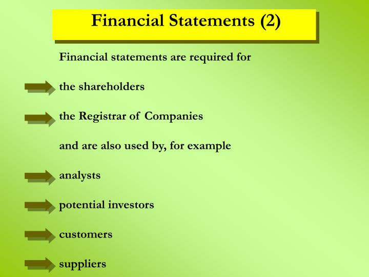 Financial statements are required for