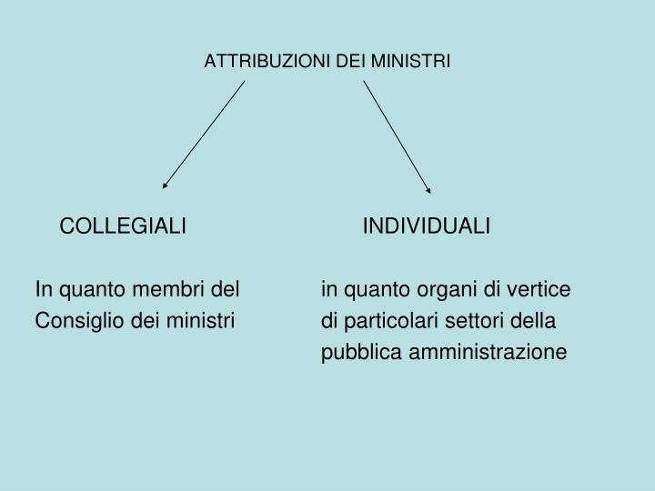 ATTRIBUZIONI DEI MINISTRI
