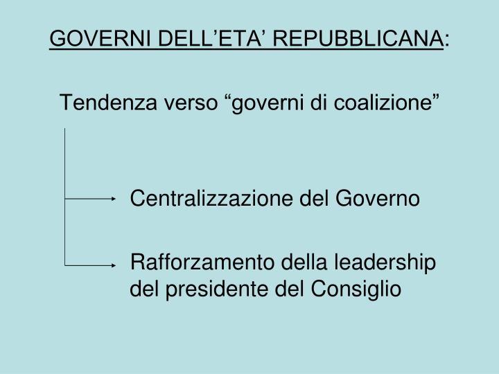 GOVERNI DELL'ETA' REPUBBLICANA