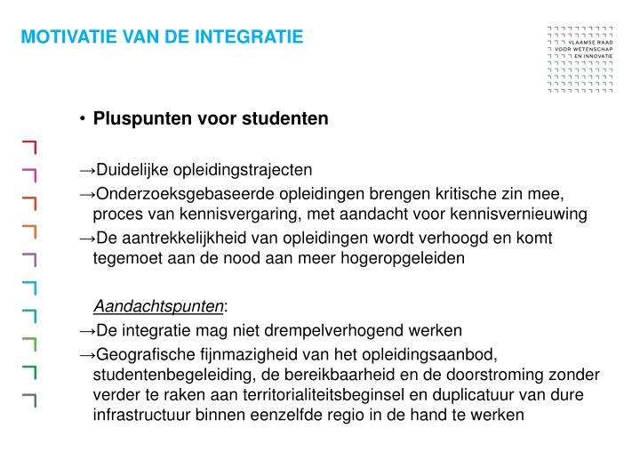 Motivatie van de integratie