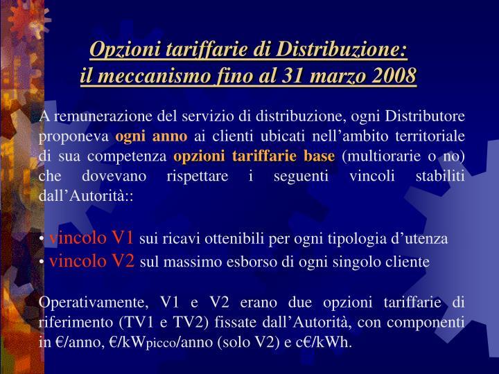 Opzioni tariffarie di Distribuzione: