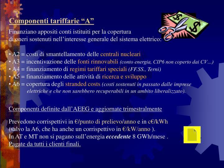 """Componenti tariffarie """"A"""""""