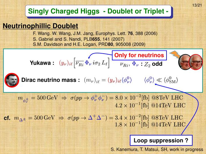 Singly Charged Higgs  - Doublet or Triplet -