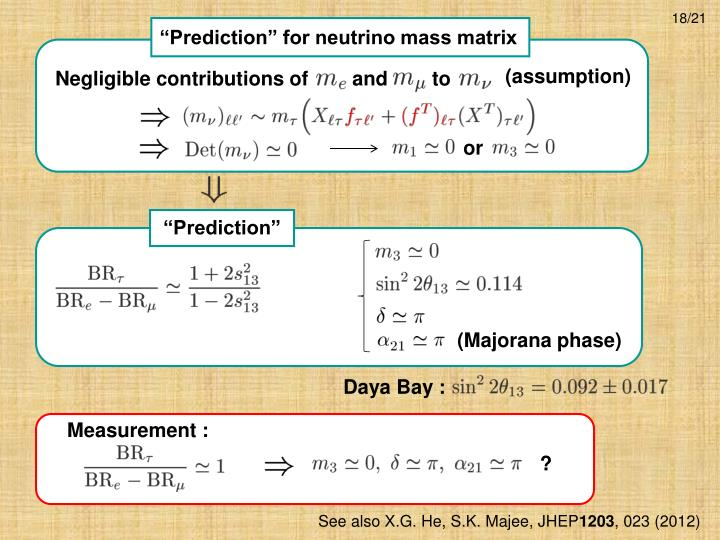 """Prediction"" for neutrino mass matrix"