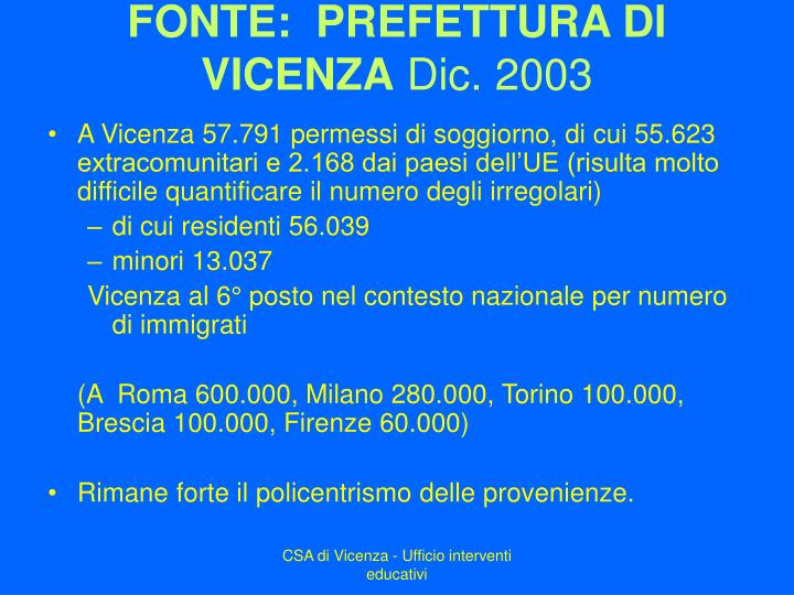 FONTE:  PREFETTURA DI VICENZA