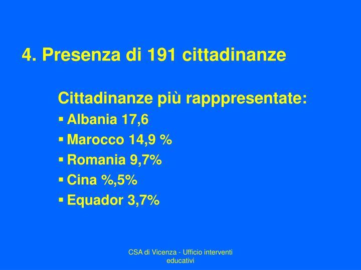 4. Presenza di 191 cittadinanze