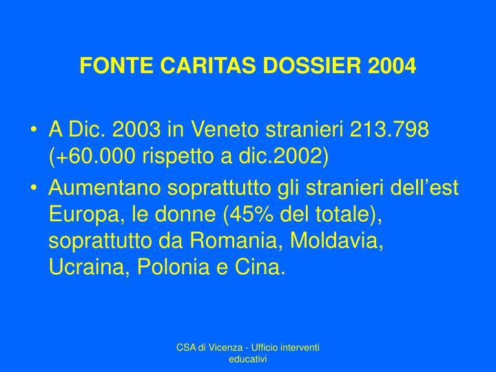 FONTE CARITAS DOSSIER 2004