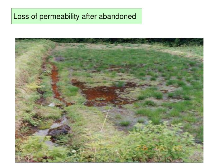 Loss of permeability after abandoned