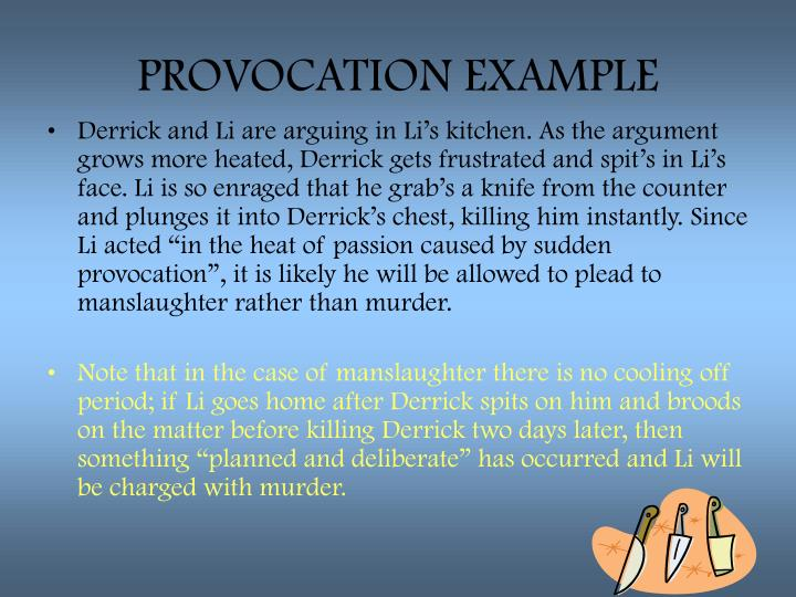 PROVOCATION EXAMPLE
