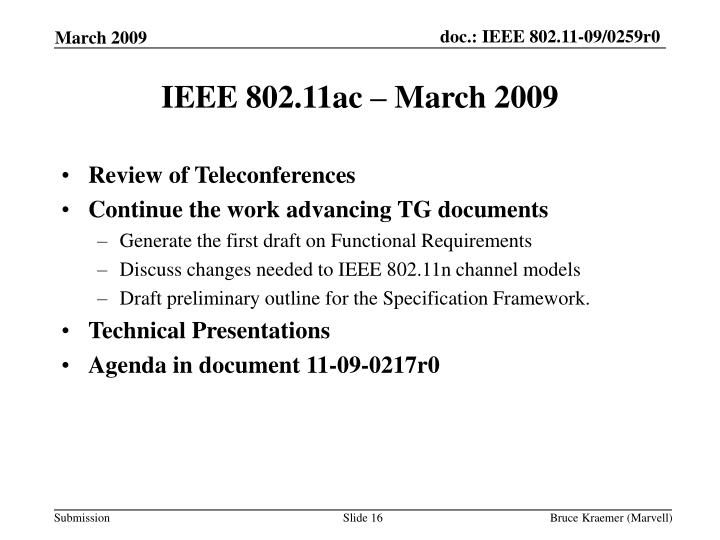 IEEE 802.11ac – March 2009